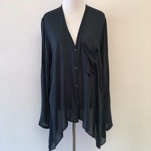Helmut Lang Teal Button Down Asymmetrical Shirt S
